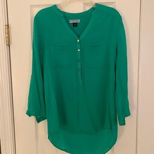 Cynthia Rowley Kelly-Green Button Up Blouse